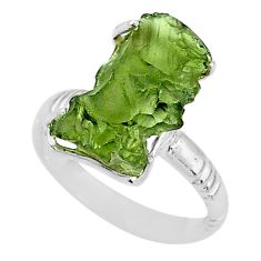 925 silver 7.97cts solitaire natural green moldavite fancy ring size 9 t10509