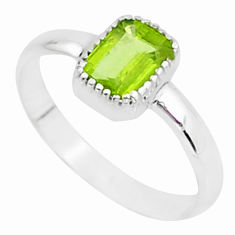 925 silver 1.56cts solitaire natural green peridot octagan ring size 9 t7404