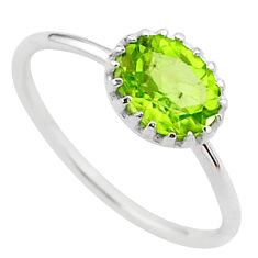 925 silver 2.05cts solitaire natural green peridot oval ring size 8 t37899