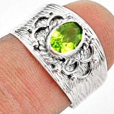 925 silver 1.36cts solitaire natural green peridot oval ring size 6.5 t42230