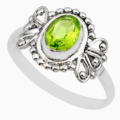 925 silver 1.42cts solitaire natural green peridot oval shape ring size 6 r87247