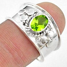 925 silver 1.56cts solitaire natural green peridot oval shape ring size 8 t42223