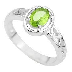 925 silver 1.51cts solitaire natural green peridot oval shape ring size 8 t8003