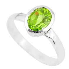 925 silver 2.05cts solitaire natural green peridot oval shape ring size 9 t7724