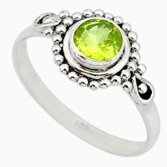 925 silver 0.81cts solitaire natural green peridot round ring size 7 r87327