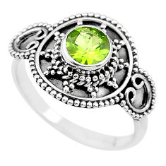 925 silver 1.16cts solitaire natural green peridot round ring size 8.5 t19917