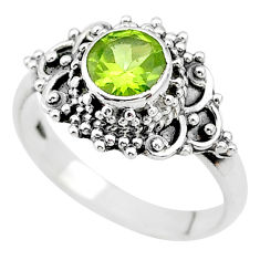 925 silver 1.17cts solitaire natural green peridot round ring size 8.5 t19979