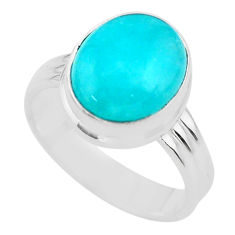 925 silver 5.11cts solitaire natural green peruvian amazonite ring size 7 t29071