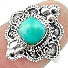 925 silver 1.21cts solitaire natural green peruvian amazonite ring size 7 t30713