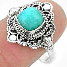 925 silver 1.14cts solitaire natural green peruvian amazonite ring size 9 t30709