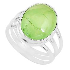 925 silver 13.76cts solitaire natural green prehnite oval ring size 10 t17783