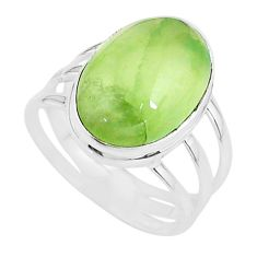 925 silver 12.72cts solitaire natural green prehnite oval ring size 10 t17790