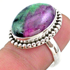 925 silver 13.73cts solitaire natural green ruby zoisite oval ring size 7 t44752
