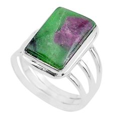 925 silver 13.46cts solitaire natural green ruby zoisite ring size 10 t17820