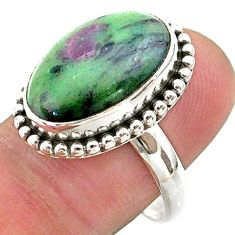 925 silver 10.04cts solitaire natural green ruby zoisite ring size 9 t44755