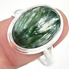 925 silver 13.77cts solitaire natural green seraphinite oval ring size 11 t24715