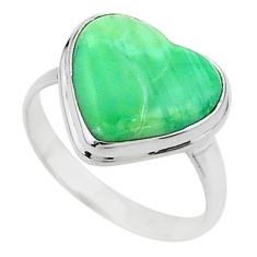 925 silver 8.49cts solitaire natural green variscite heart ring size 10 t15595