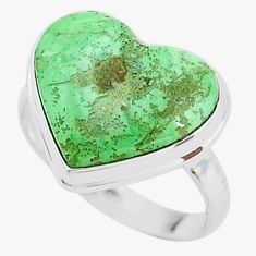 925 silver 9.29cts solitaire natural green variscite heart ring size 9 t15635