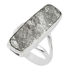 925 silver 11.25cts solitaire natural grey meteorite gibeon ring size 6 t29178