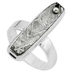 925 silver 12.83cts solitaire natural grey meteorite gibeon ring size 6 t29192