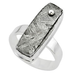 925 silver 17.73cts solitaire natural grey meteorite gibeon ring size 7 t29175