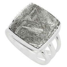 925 silver 14.70cts solitaire natural grey meteorite gibeon ring size 7 t29189