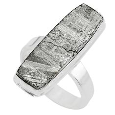 925 silver 19.48cts solitaire natural grey meteorite gibeon ring size 8 t29168