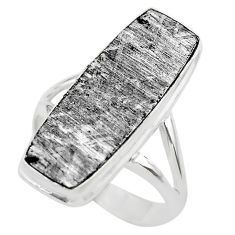 925 silver 17.20cts solitaire natural grey meteorite gibeon ring size 8.5 t29158