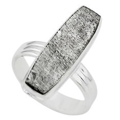 925 silver 16.17cts solitaire natural grey meteorite gibeon ring size 8.5 t29166