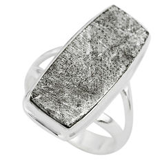 925 silver 16.70cts solitaire natural grey meteorite gibeon ring size 6.5 t29172