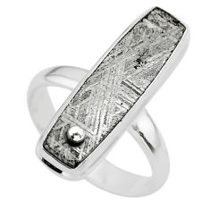 925 silver 13.27cts solitaire natural grey meteorite gibeon ring size 7.5 t29187