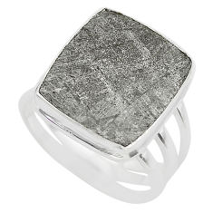 925 silver 12.96cts solitaire natural grey meteorite gibeon ring size 7.5 t29195