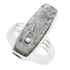 925 silver 15.76cts solitaire natural grey meteorite gibeon ring size 7.5 t29198