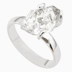 925 silver 5.45cts solitaire natural herkimer diamond fancy ring size 7 t49610