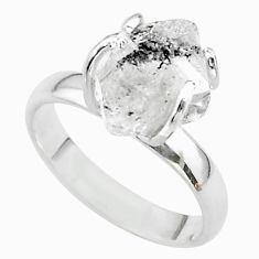 925 silver 5.42cts solitaire natural herkimer diamond fancy ring size 7 t49638