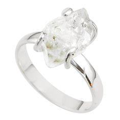 925 silver 5.42cts solitaire natural herkimer diamond fancy ring size 8 t49620