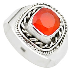 925 silver 2.26cts solitaire natural honey onyx cushion ring size 7 t23316