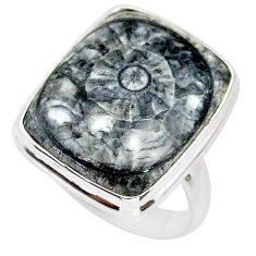 925 silver 16.07cts solitaire natural horn coral octagan ring size 7.5 t21653
