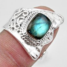 925 silver 3.14cts solitaire natural labradorite adjustable ring size 6.5 r49564
