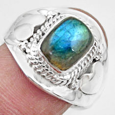 925 silver 3.19cts solitaire natural labradorite adjustable ring size 7.5 r49580