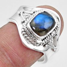 925 silver 3.19cts solitaire natural labradorite adjustable ring size 8 r49577