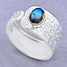 925 silver 1.51cts solitaire natural labradorite adjustable ring size 7.5 t47419