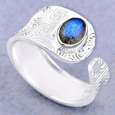 925 silver 1.51cts solitaire natural labradorite adjustable ring size 8.5 t47437
