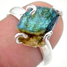 925 silver 5.24cts solitaire natural labradorite slice fancy ring size 7 t48824