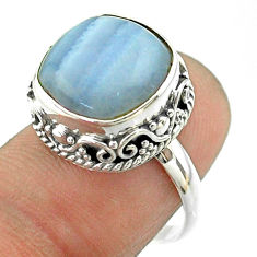 925 silver 7.03cts solitaire natural lace agate cushion ring size 7.5 t55891