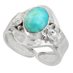 925 silver 3.11cts solitaire natural larimar adjustable ring size 7.5 r50199