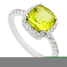 925 silver 5.19cts solitaire natural lemon topaz white topaz ring size 8 t43168