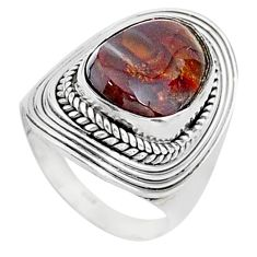 925 silver 7.23cts solitaire natural mexican fire agate fancy ring size 7 t15552