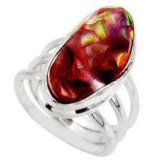 925 silver 10.64cts solitaire natural mexican fire agate ring size 6.5 r50084