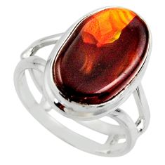 925 silver 8.80cts solitaire natural mexican fire agate ring size 6.5 r50089